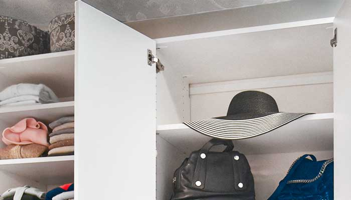 Hat storage in a closet