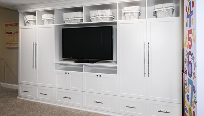 Media center and playroom storage organization system in shaker style
