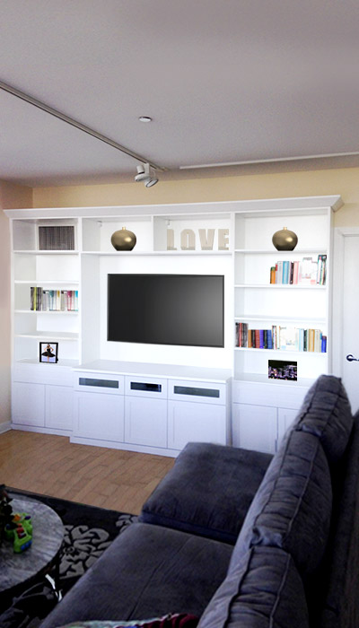 TV stand and entertainment center for living room in white