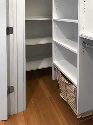 Deep return used for shelves in reach in closet