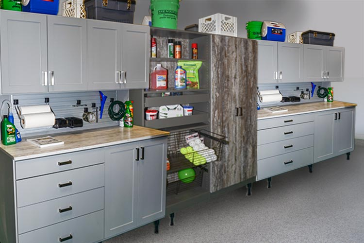 Custom garage organization system with two identical tool benches