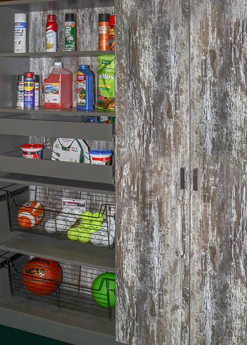 Garage cabinet in Intrigue thermally fused laminate - alternate view