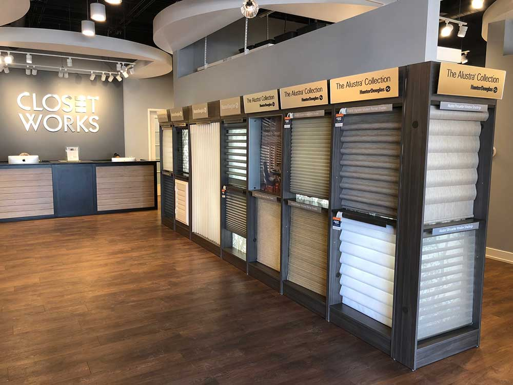 Closet Works showroom display of premium Hunter Douglas window treatments