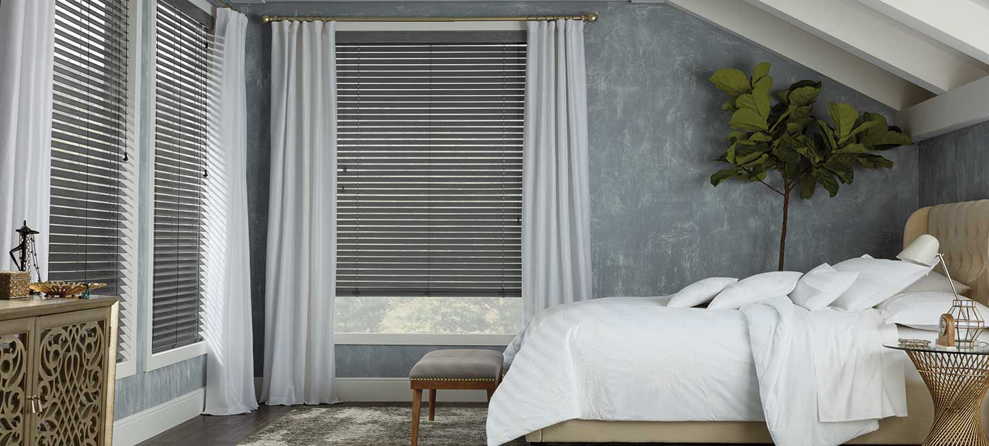 Hunter Douglas Parkland wood window blinds with wirebrushed finish