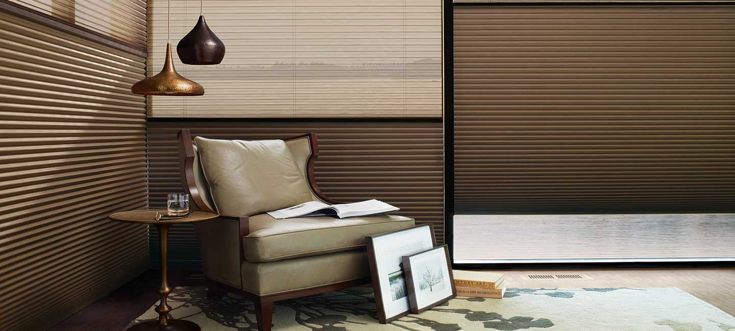 Duolite Duette honeycomb shades in the Alustra fabric collection by Hunter Douglas
