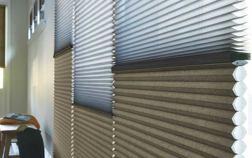 Insulating Duette cellular honeycomb shades with Duolite closeup fabric collection from Hunter Douglas close-up