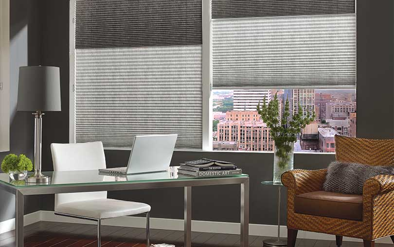 Close-up of Vignette modern roman window Shades in an Alustra textile by Hunter Douglas