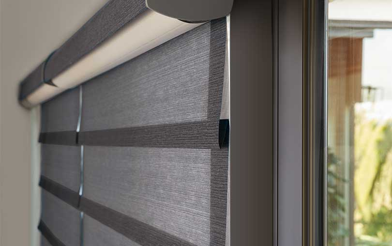 Vignette by Hunter Douglas Roman shades with Duolite close up