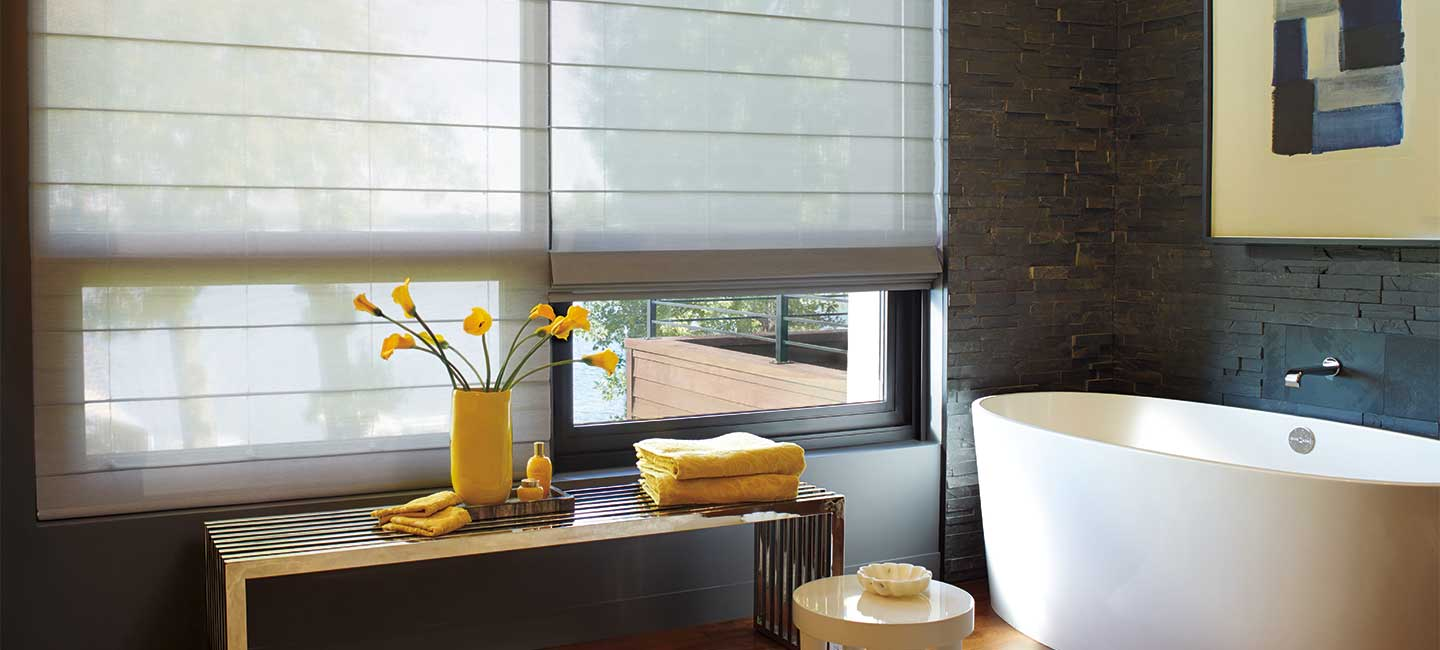 Window roman shades with premium fabric from the Alustra Woven Textures collection by Hunter Douglas
