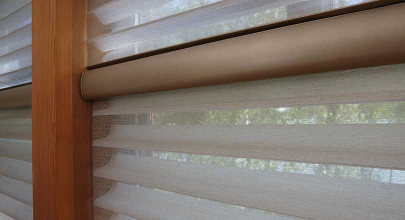 Close-up of Silhouette window shading in an Alustra fabric by Hunter Douglas