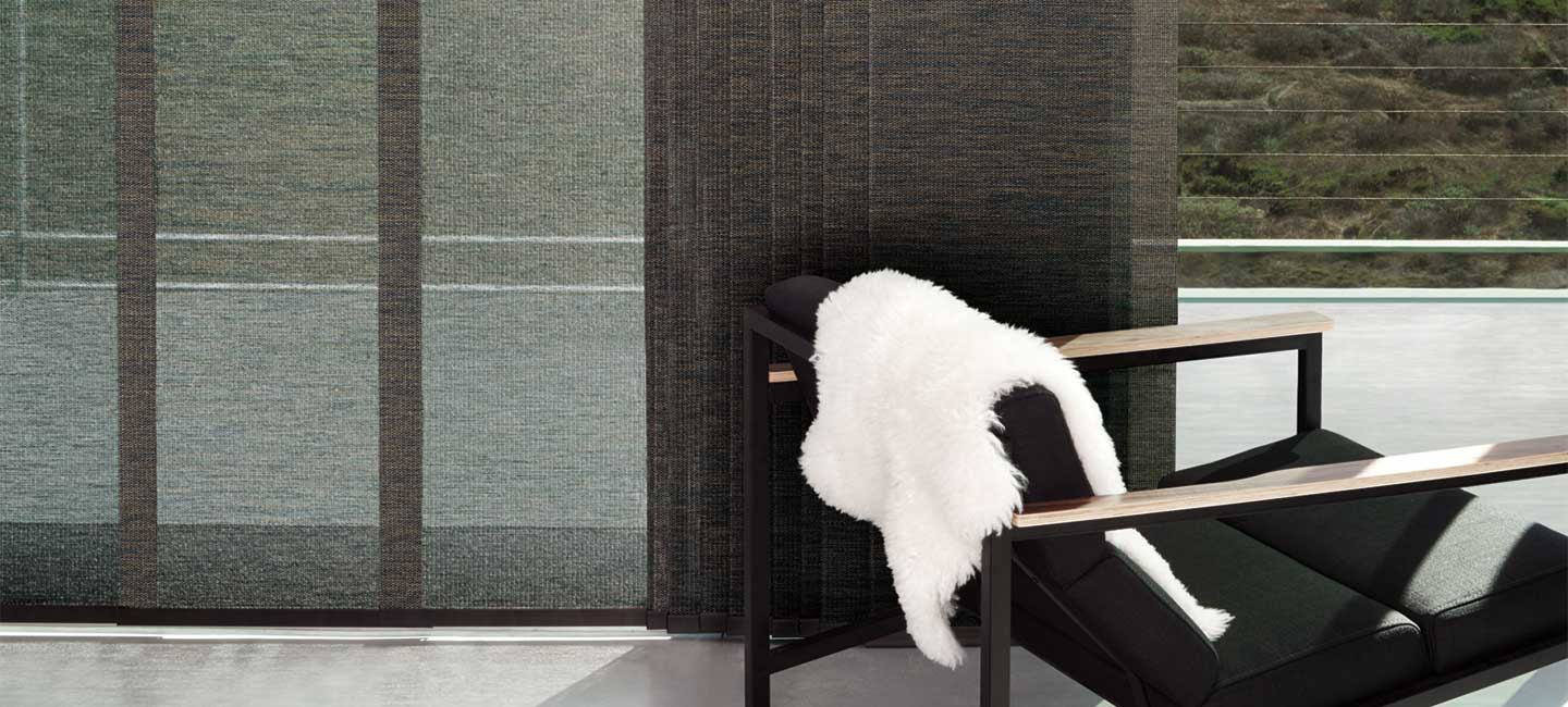 Skyline gliding window panels with premium fabric from the Alustra Woven Textures collection by Hunter Douglas