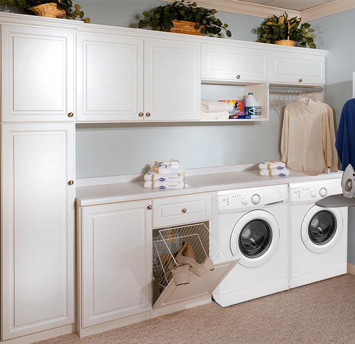 Custom laundry room cabinets and storage built-ins