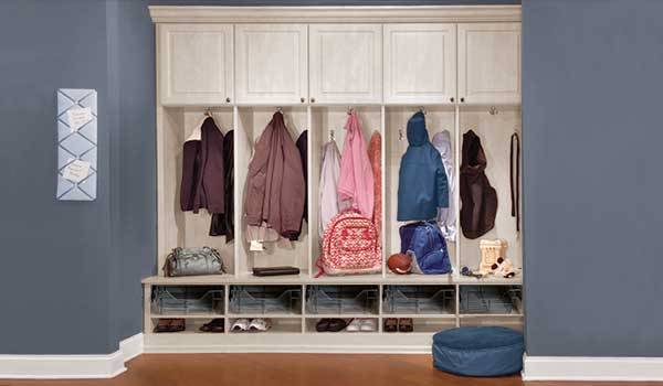 Organization system for mudroom keeps coats and backpacks tidy