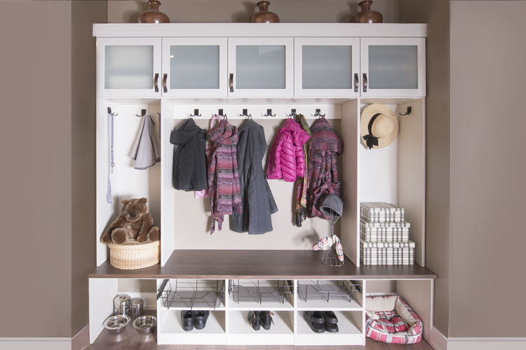 custom mudroom with plenty of storage for an entire family