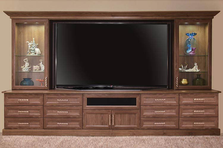 Entertainment center with large 80-inch television set