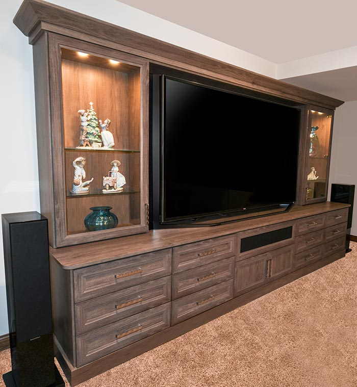 Family-friendly custom home theater cabinet in tradional style