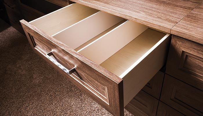 Built-in dvd drawer for home theater wall unit