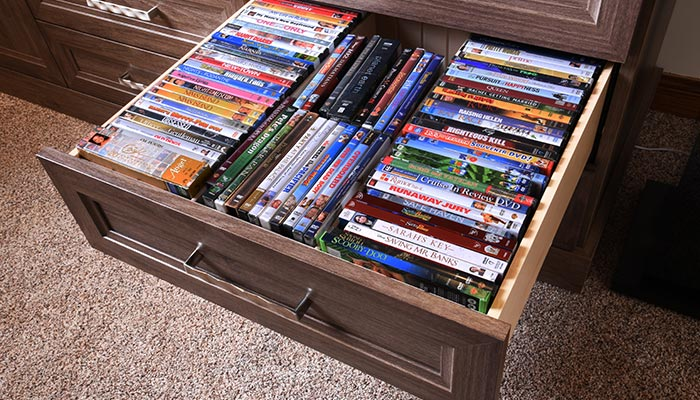 Drawer organizer insert holds many DVDs