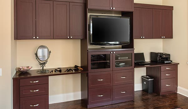 Bedroom media center wall unit system with his and hers built-ins