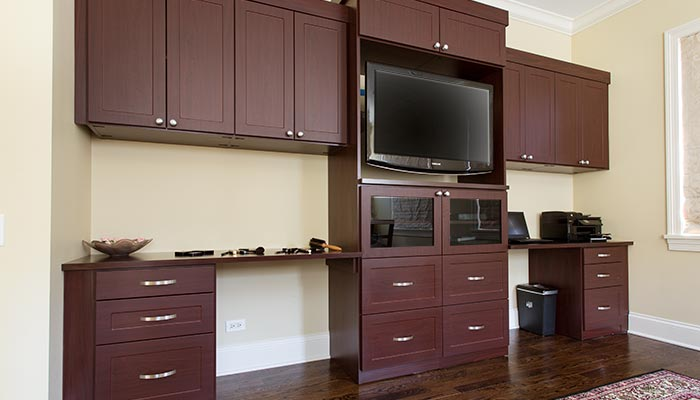 Custom media center and wall unit organization system for bedroom