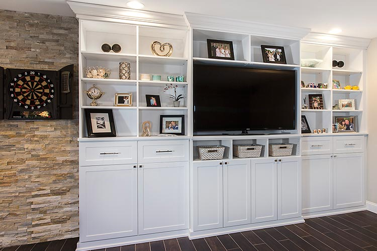 Media center and entertainment center wall unit with crown and base moulding in white