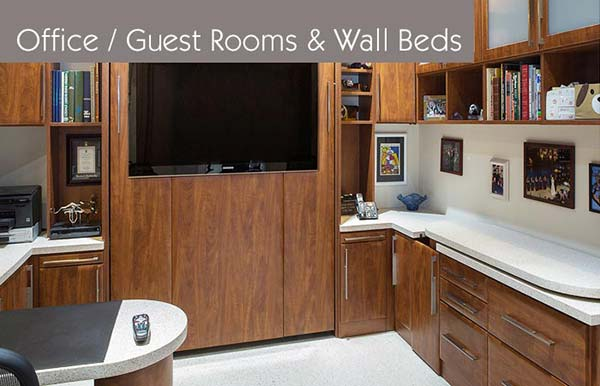 Home office, guest room combos with wall bed organization system