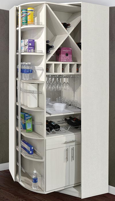 Rotating Butler Pantry Cabinets With Wine Storage Racks
