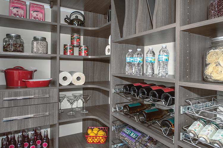 Design for custom closet organization system for kitchen storage