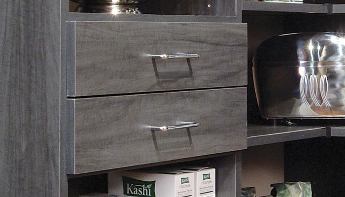 pantry with contempo drawer faces
