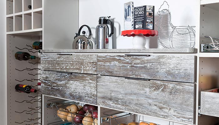 Custom drawers for rustic kitchen pantry cabinet with farmhouse finish