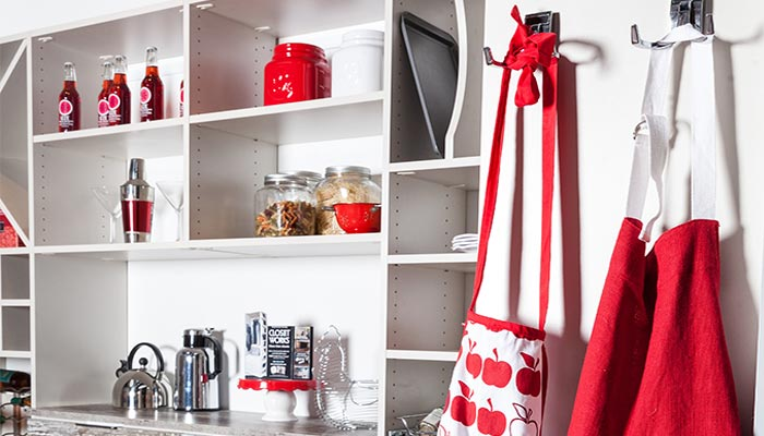 Pantry solutions include double hooks and shelves