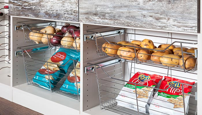Wire baskets are one of many pantry shelving ideas