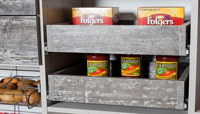 Pantry solutions include rustic pantry shelves that pull out for easy access