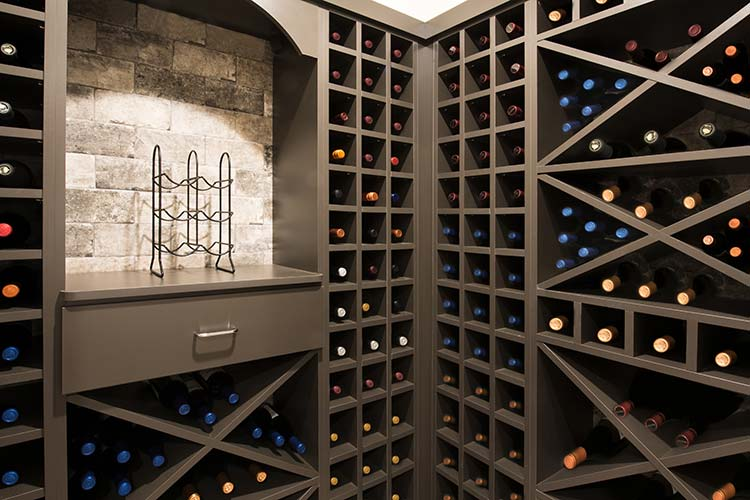 Custom wine storage with wine cubes, wine cubbies and pull-outs for bottles