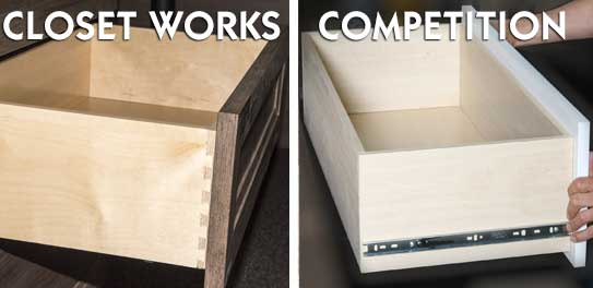 Wood drawers with dovetail construction are better than PVC