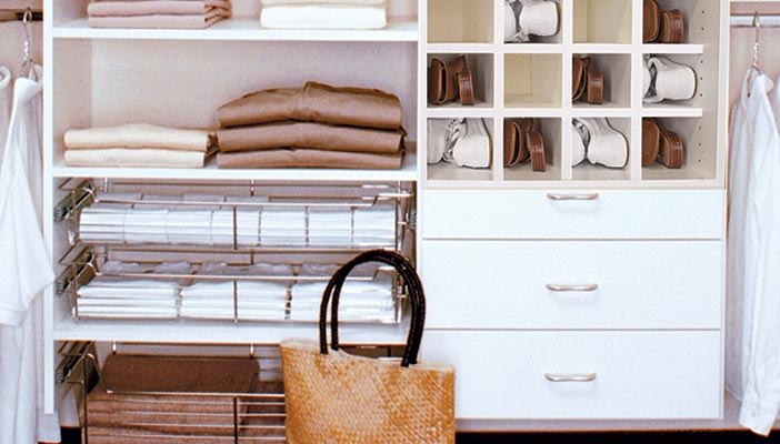 less expensive closet remodeling ideas include pull-out baskets instead of drawers