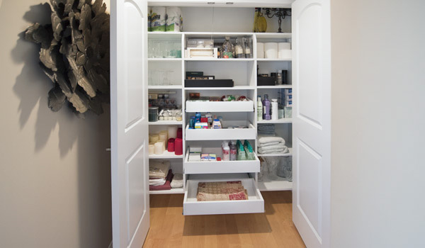 hall closets system used for linen, bathroom items, and home decor
