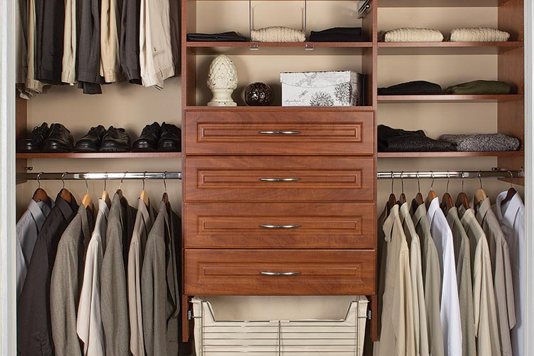 Reach in closets design for hall closets with Harmony drawer fronts