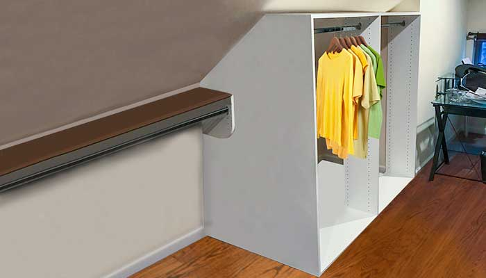 Attic closet with hanging areas for clothes