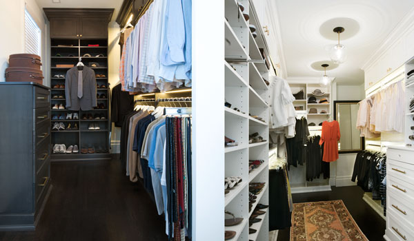 Custom walk in closets for him and her with custom lighting