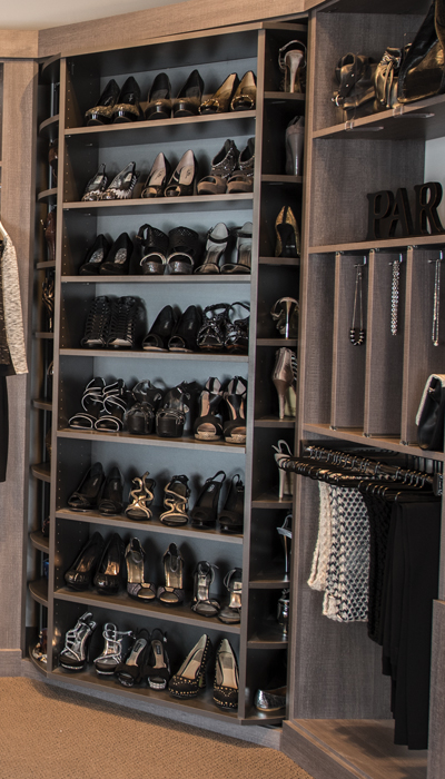 Glass Doors, Shelves and LED Lights finish the walk in closet systems