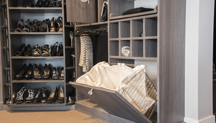 pull-out sweater shelves for walk in closet