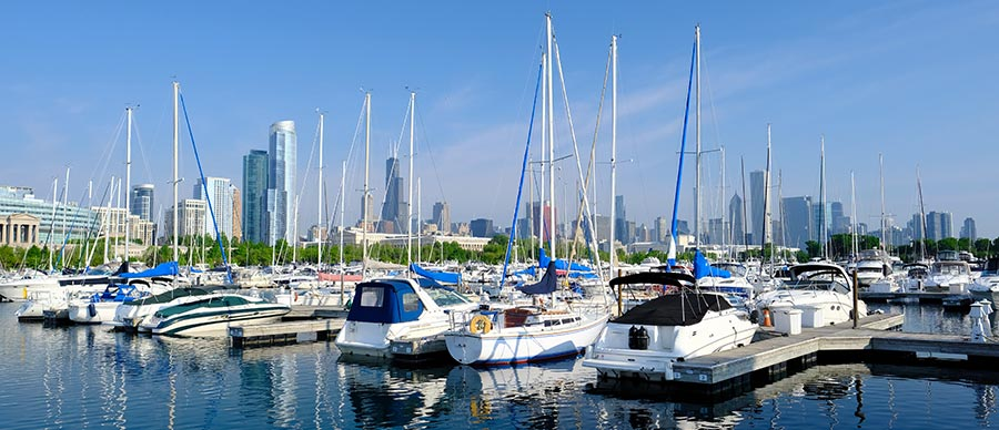 Burnham Harbor from Lake Shore Drive Chicago