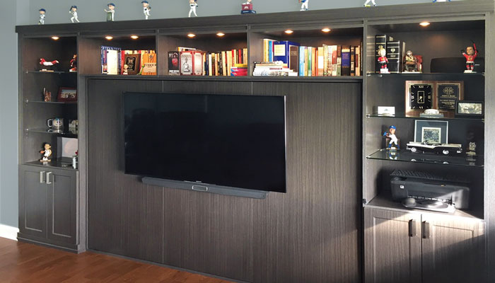Horizontal Murphy bed with TV and wall unit in closed position
