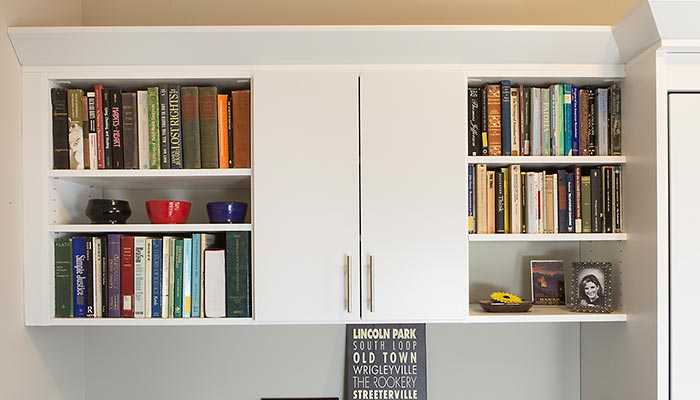 Cabinets, shelving and crown moulding