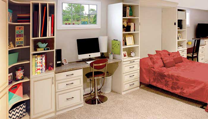 Guest room and home office with craft corner.