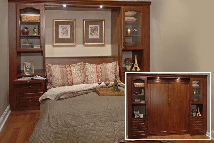 Custom murphy bed transforms bedroom to office