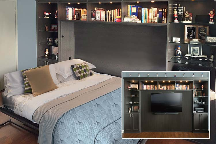 Horizontal murphy beds transforms office to guest bedroom