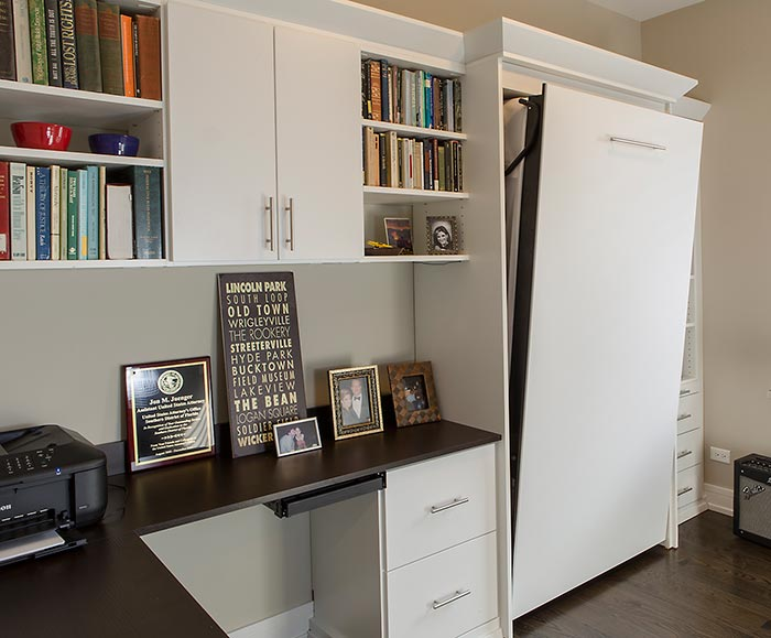 Guest Bedroom Office changes function by using fold away beds