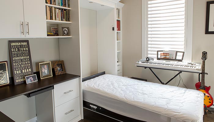 Guest room office with Twin size Murphy bed fully open